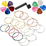 URlighting Acoustic Guitar Strings Replacement (3 Sets of 6 ), 18 Pieces Replacement Steel Strings with a Guitar String Winder and 10 Pieces Guitar Picks for Beginners and Performers