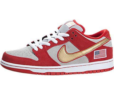 Nike Mens Dunk Low Pro SB Nasty Boys Challenge Red/White-Metallic Silver Leather Size 13