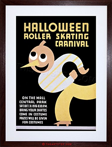 The Art Stop Sport Roller Skating Halloween Chicago USA Vintage Framed Print F97X6442 -