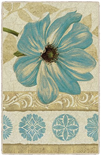 Brumlow Mills Garden Fete Turquoise Kitchen and Entryway Floral Rug, 1'8