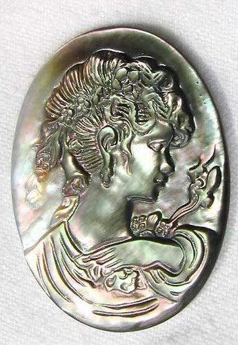 Rainbow Carved Black Tahitian Mop Shell Cameo for Jewelry Making 4393N