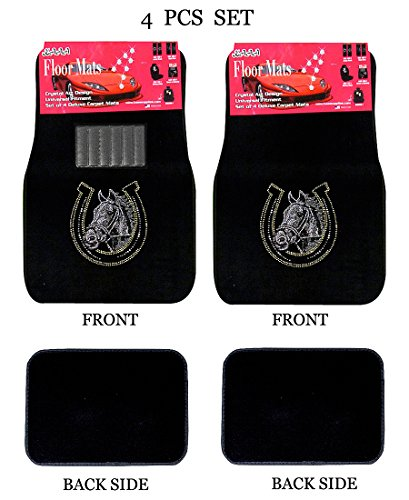 - ALLBrand Universal Fit Front/Rear 4-Piece Full Set Crystal Bling Rhinestone Studded Carpet Car SUV Truck Floor Mats (Horse Shoe/Black)