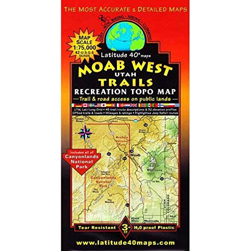 Moab West Topographic Recreation Trail Map