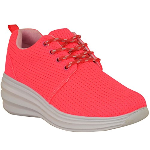 Zapatillas De Deporte Para Mujer Sedosas Lace Up Zapatillas De Deporte Deportivas Tallas Ocultas De Cuña Talla De Gimnasia Neon Pink