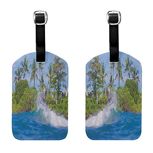 Tag Holder Zip Ride The Wave,Surfer in Ocean by Bali Island Palm Trees Dreamy Nature Scenery, Fern Green Violet Blue Luggage Tags - 2 Pack