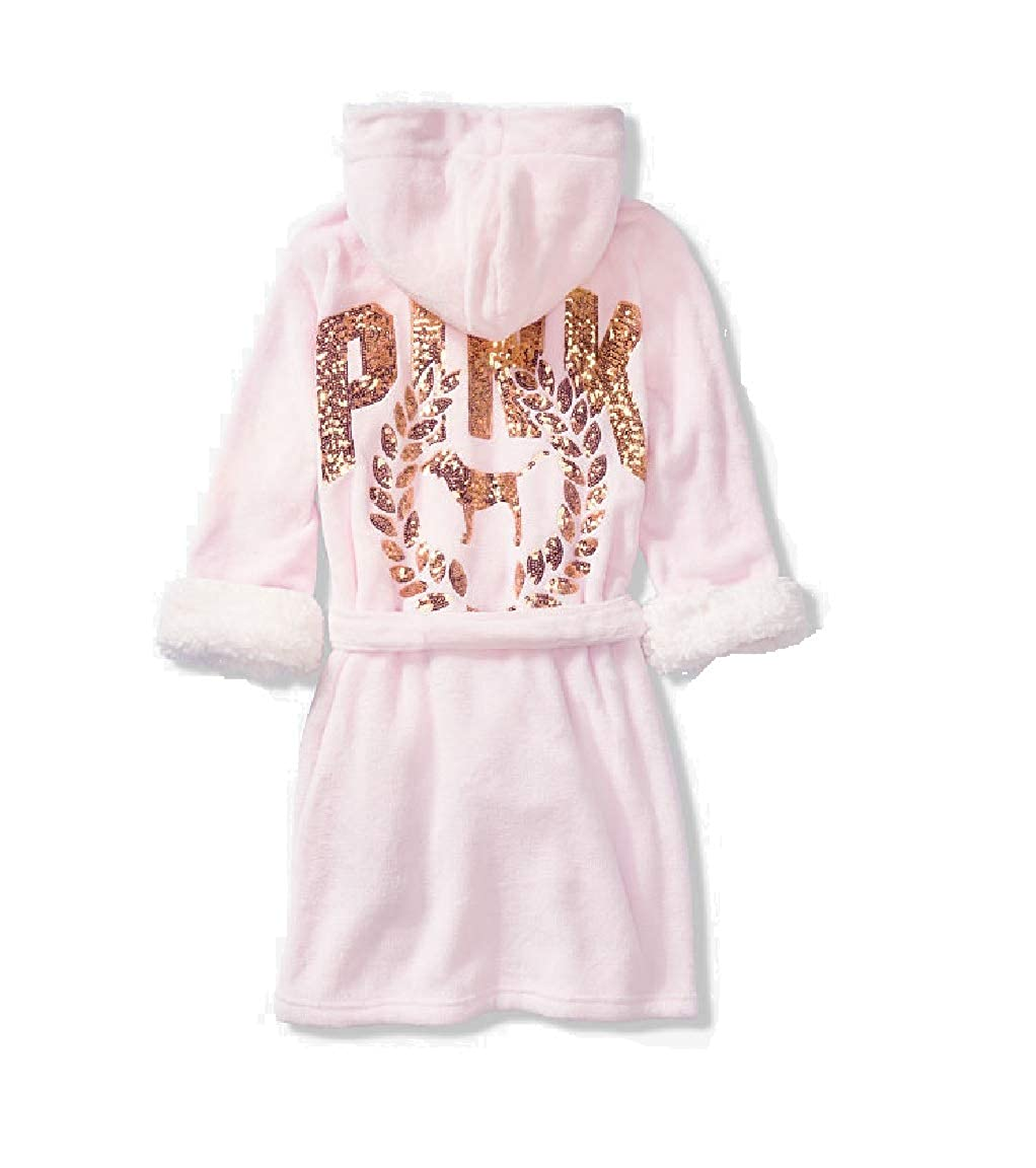 ca47fb191d3a1 Victoria's Secret Pink Sherpa Lined Robe with Gold Sequins (M/L)