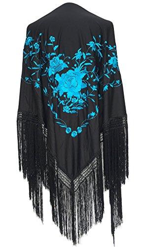 Spanish Dance Flamenco - La Senorita Spanish Flamenco Dance Shawl black with blue flowers Large