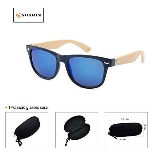 6ccb9a32325 SOARIN Fashion Wooden Sunglasses for Men Women Reflective Mirror Lens  UV400(blue)