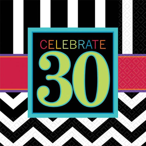 Must-Have Chevron and Stripes 30th Birthday Party Beverage Napkins Tableware, Pack of 16, Multi , 5