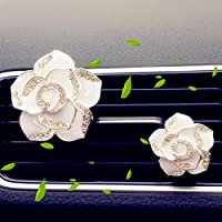 Car Air Freshener Aromatherapy Essential Oil Diffuser Diamond Locket with Car Perfume Car Fragrance Diffuser Vent Clip Set of 2 Camellia Flower Bling Car Interior Accessories , AMind (White)