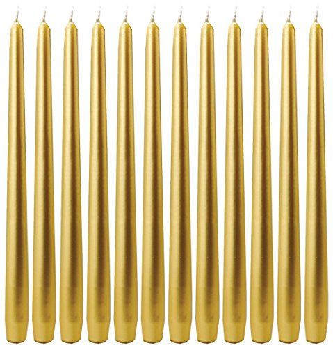 Biedermann Dinner Candles, Gold, 12-Inch Tapers, Box of ()
