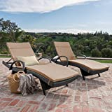 Christopher Knight Home 296791 Outdoor Wicker Chaise Lounge Chair with Arms with Cushion