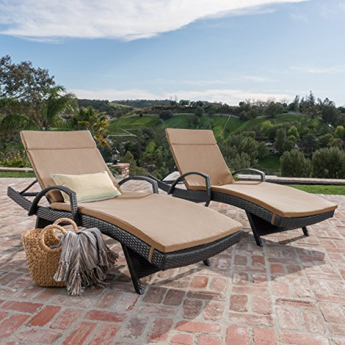 Spring Patio Lounge Chair - Christopher Knight Home 296791 Outdoor Wicker Chaise Lounge Chair with Arms with Cushion