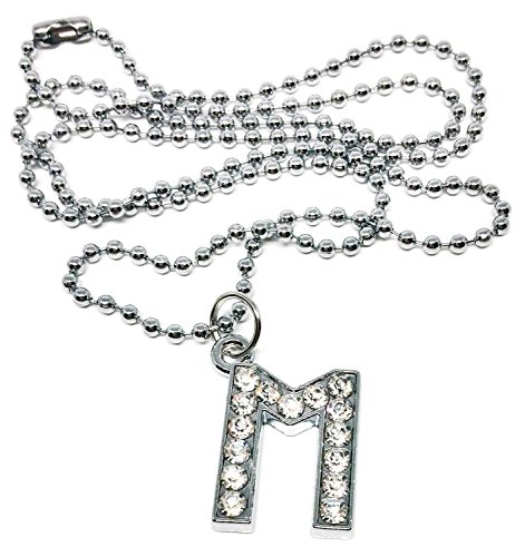 [BDJ Rhodium Plated Rhinestone A-Z Capital Initial Pendant Ball Chain Necklace 24 inches (Letter M)] (Rock And Roll Costume Ideas For Men)
