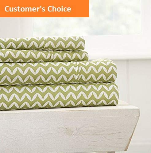 Mikash New Soft Printed Puffed Chevron Patterned Quality 4 Piece Sheet Set, Full, Sage | Style ()