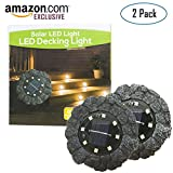 Tutu Tech Disk Lights, Upgraded Faux Rock Design Solar in-Ground Light Outdoor with 8 LEDs, Smart Circuit Waterproof Wireless Garden Lawn Pathway Landscape Decorative Lighting, Pack of 2, White