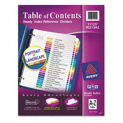 AVERY-DENNISON 11125 Ready Index Contemporary Table/Content Divider, Title: A-Z, Multi, Letter
