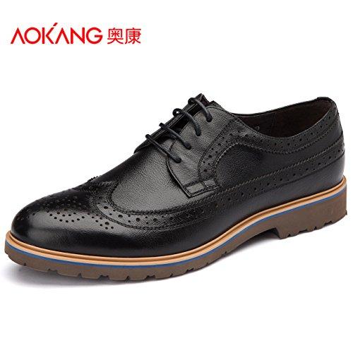 Aemember Chaussures Pour Hommes Business Costumes Chaussures 男 Chaussures À Orteils Tether-sculpté, 40, Noir