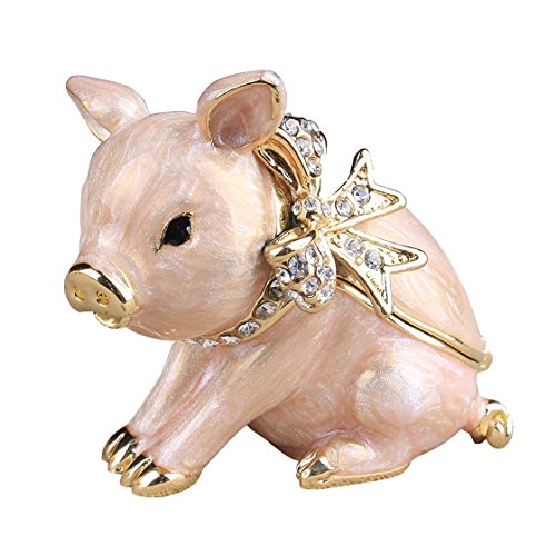 znewlook Pig Handcrafted Jeweled Pewter Trinket Box New Lovely Pig Jewelry Box ()