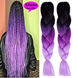 MSBELLE 5 Pcs 24 Inch Synthetic Braiding Hair Extensions Kanekalon Braiding Hair Ombre