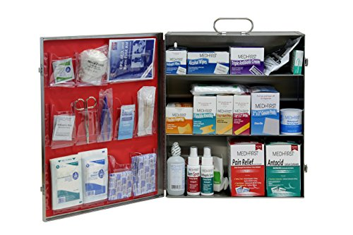 Medique Products 745M1-SS Filled 4-Shelf Stainless Steel Metal First Aid Cabinet, Silver by Medique