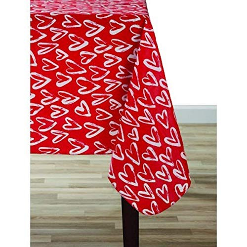 Celebrate! Valentine's Day Vinyl Tablecloth Brush Heart for sale  Delivered anywhere in USA