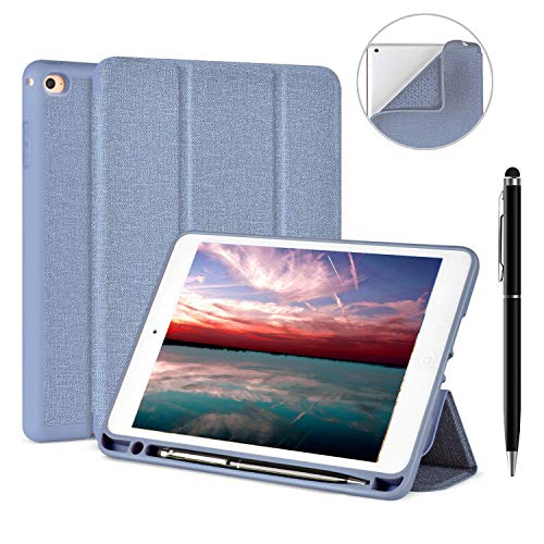 Veco iPad Mini 4 Case with Pen Holder and Free Stylus- Ultra Slim Lightweight Smart Case Soft TPU Back Cover with Auto Sleep/Wake for Apple iPad Mini 4th Generation (Blue)