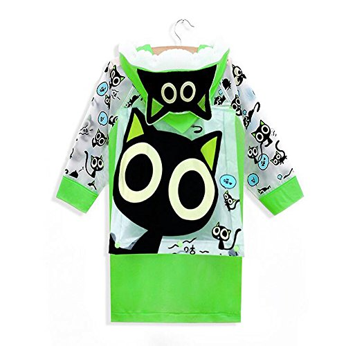 Rain Rei Pants - Ezyoutdoor Unisex Kids Green Children Hooded Raincoat Rain Jacket Poncho with School Bag Cover Children Raincoat Cartoon Poncho,Lovely Small Cat (XXL)