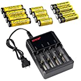 HeCloud 4PCS Button Top 18650, 14500 & 16340 Rechargeable 3.7V Batteries with Fast Li-ion 18650 16340 14500 Battery Charger