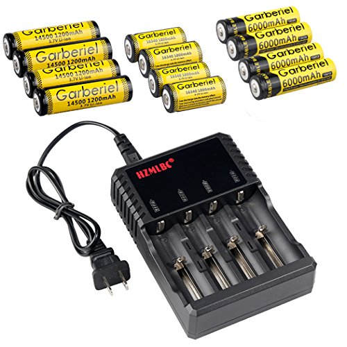 HeCloud Pack of 13 Rechargeable Batteries Set Kit - Each 4 pcs of Button Top 18650,14500 & 16340 3.7V Batteries with 4 Slots LCD Battery Charger