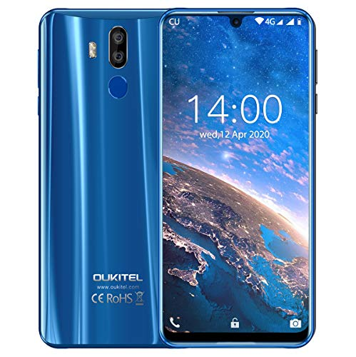 "OUKITEL K9 Unlocked Cell Phones, 7.12"" FHD+ Water Drop Screen 4GB RAM+64GB ROM 16MP+8MP Dual Camera 6000mAh Battery Unlocked Smartphones,4G Android 9.0 Dual SIM Smartphone Support OTG(Blue)"
