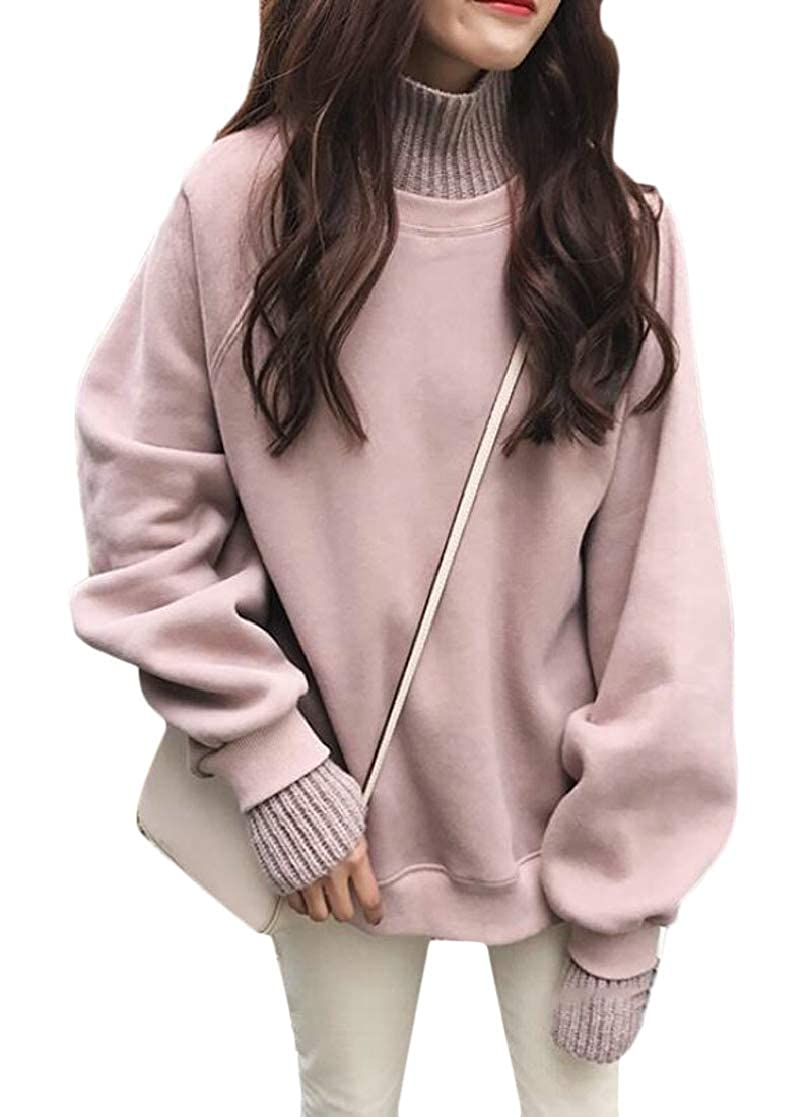 SHOWNO Women Fall /& Winter Long Sleeve Solid Color Loose Trutleneck Pullover Sweatshirt Top Blouse