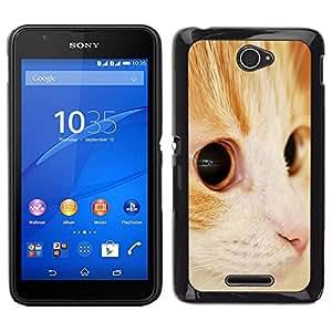 EJOY---Cubierta de la caja de protección para la piel dura ** Sony Xperia E4 ** --Somalia Naranja American Shorthair Cat