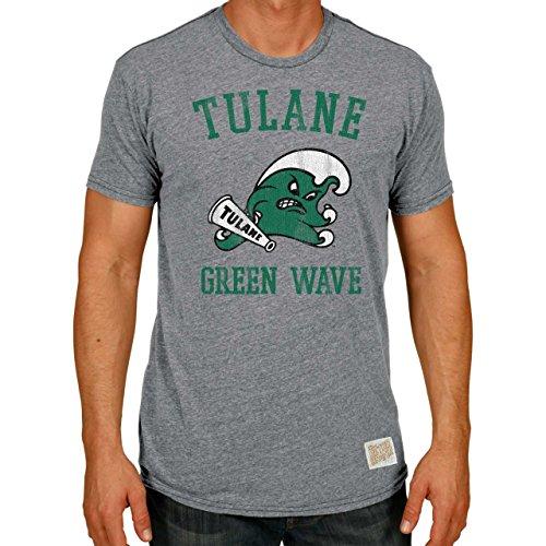 Original Retro Brand Tulane Green Wave Adult NCAA Triblend T-Shirt - Gray, (Tulane Green Wave Shirt)