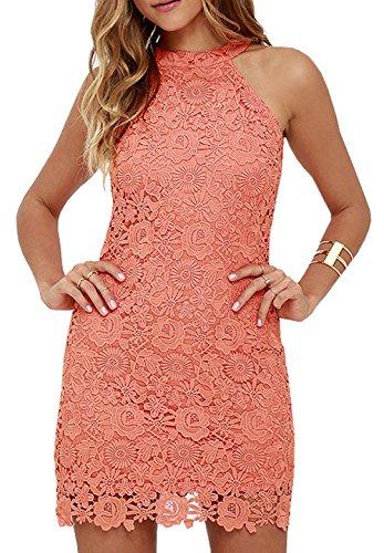 Berydress Women's Full Lining Slimming Sheath Mini Lace Dress (US10, #6010_Coral)
