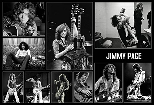 - Mile High Media Jimmy Page Poster 13 x 19 Inch Print | Photo Quality Wall Art | Collage Series Limited Edition Black And White Print | Led Zeppelin