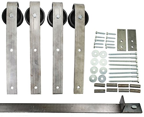 Double Sliding Barn Door Hardware Kit with 7 Ft. Track Included - Made in USA by Mapp Caster