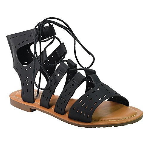 Angelina Outs With Sandal Womens Gladiator Lace Black Up Cut 00frq