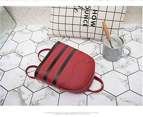 Stampa Onemoret Stripe Pelle Tracolla Viaggio Cartoon A Borsa Zaino Donne Da Red Borse Grey In Mini qtwtSE