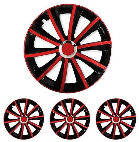 Tapacubos – Tapacubos Tapacubos Gral Negro de color rojo bicolor con anillo cromado 16 pulgadas