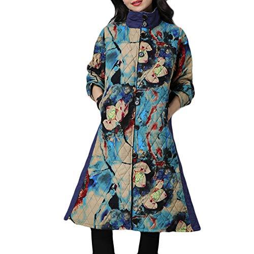 Linlink Mujeres más tamaño de Invierno Abrigo Folk-Personalizado algodón Acolchado impresión fácil Chaqueta: Amazon.es: Ropa y accesorios