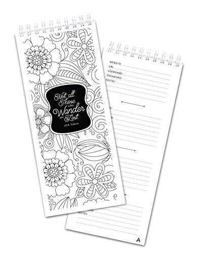 Color Me Flowers Password Book with Alphabetized Pages by Polkadot Paper Company