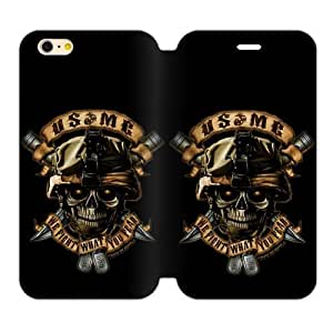 Fantasy Skull Design Marine Corps Metal Pattern Iphone 6 4.7 Case Shell Cover (Laser Technology)
