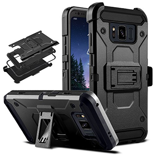 DONWELL Galaxy S8 Active Case New 2017 Hybrid Heavy Duty Shockproof Full Body Protective Armor Phone Cover with Kickstand Belt Clip Holster for Samsung SM-G892A 5.8 (Black)