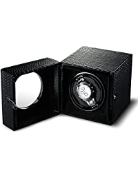 Single Watch Winder Automatic Storage Boxes Quiet Motor for Men Snake-print Synthetic Leather