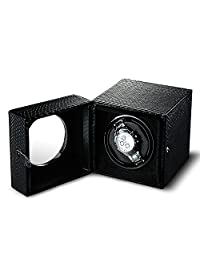 OLYMBROS Single Watch Winder Automatic Storage Boxes Quiet Motor for Men Snake-print Synthetic Leather