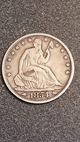1854 SEALTED LIBERTY SILVER HALF DOLLAR-NICE-DETAIL PRE-CIVIL WAR HALF-VERN'S CARD & COIN Half Dollar VF-XF