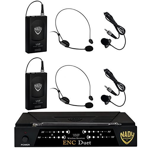 Headset Nady Dual - Nady ENC DUET Wireless Dual Channel Headset Microphone System With 2 Headmics & Bodypack Transmitters