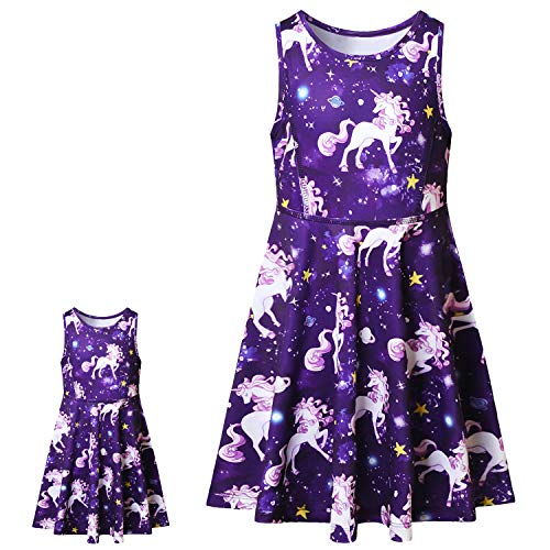America Doll & Girl Matching Dresses Summer Unicorn Clothes Outfits Sleeveless ()