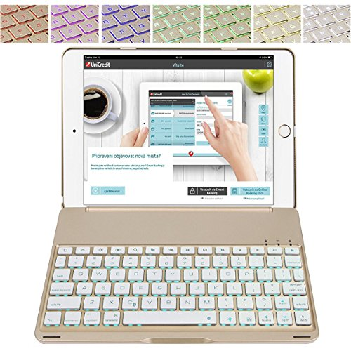 New iPad 9.7/iPad Air Keyboard Case-Naswei Wireless Backlight Keyboard with Aluminum Alloy Clamshell Protective Case Smart Folios Cover for 2018 6th 2017 5th iPad 9.7,iPad Air 1st Generation - - 1st Ipad Keypad Generation